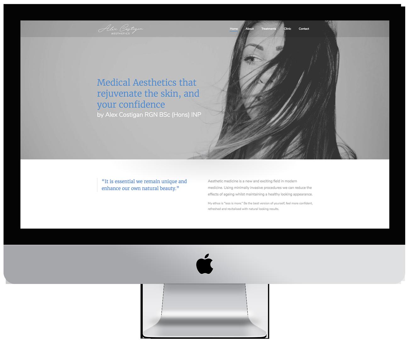 Website development for Alex Costigan Aesthetics, Wirral